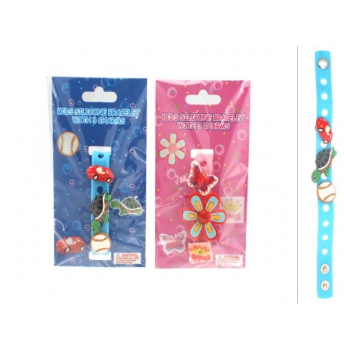 Bracelet Kids Silicone W/3 Charms