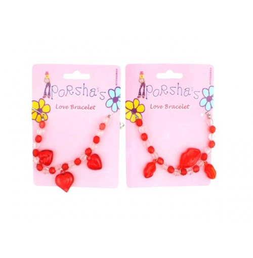 Ladies Love Lips/ Heart Beads Bracelet On Card Styles