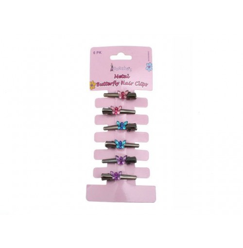 Butterfly Hair Clip Metal 6 Pack
