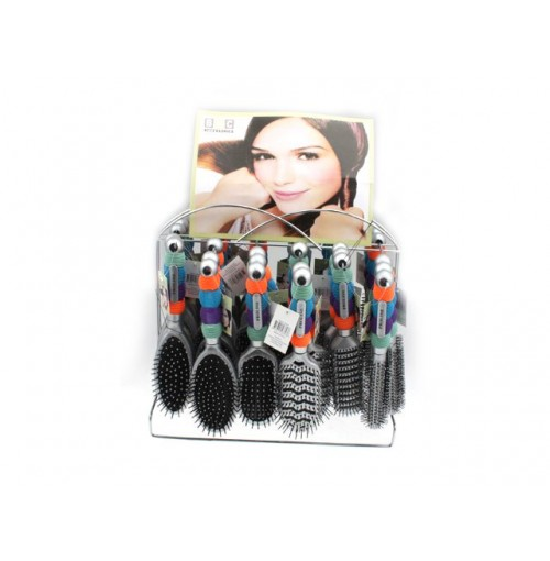 Hair Brush Icicle W/4 Colour Grip Handle On Metal Stand