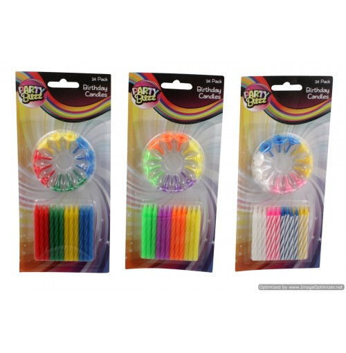 Birthday Candle 24pce Striped, Solid Col, Neon