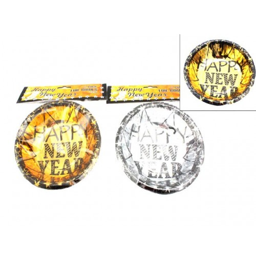 Bowls 6pk Foil Happy New Year Gold & Silver 15cm