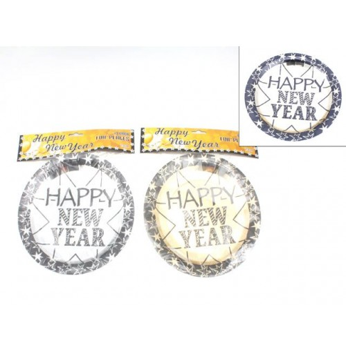 Plates 6pk Foil Happy New Year Gold & Silver 23cm