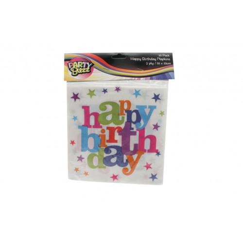 Happy Birthday Napkins 33 X 33 Cm 20pk