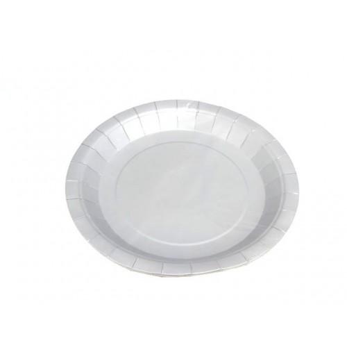 Plates Paper 6pc Silver 23cm