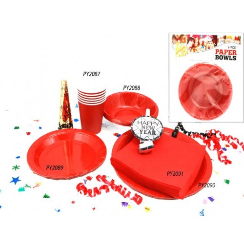 Bowls Paper 6pc Red 16cm