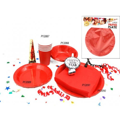 Plates Paper 6pc Red 23cm