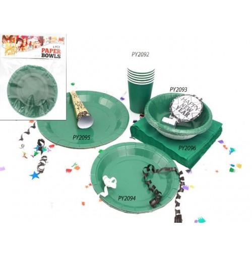 Bowls Paper 6pc Green 16cm