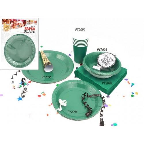 Plates Paper 6pc Green 18.5cm