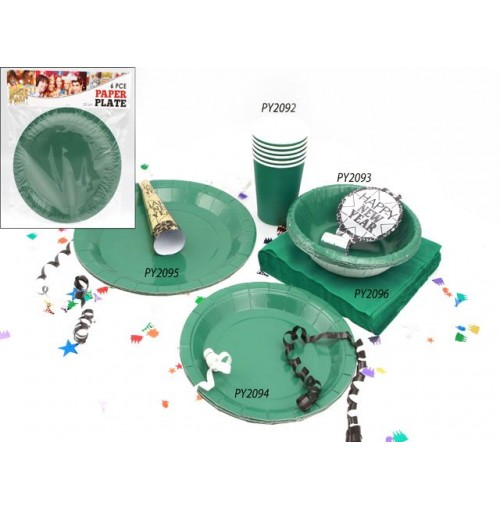 Plates Paper 6pc Green 23cm