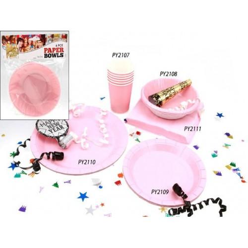 Bowls Paper 6pc Pink 16cm