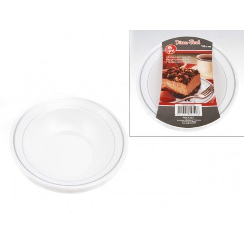 Glimmer Ware Disposable Bowl 16cm 6pack Silver Rim