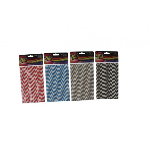 Paper Straw 20pce Stripe 4cols Red Grey Blk Blue Pbh