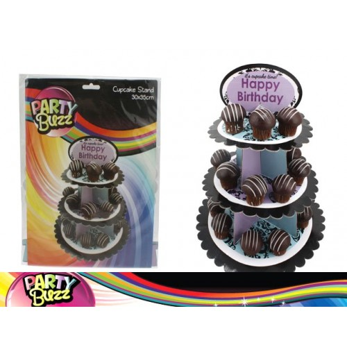 Cup Cake Stand 3 Tier Happy Birthday 30x35cm