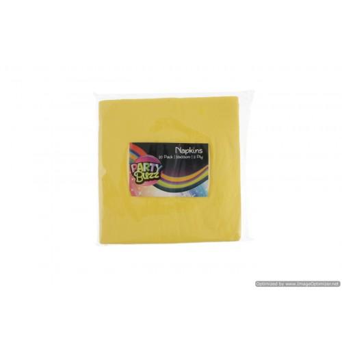 Napkins 20pce 2ply 33 X 33cm Yellow