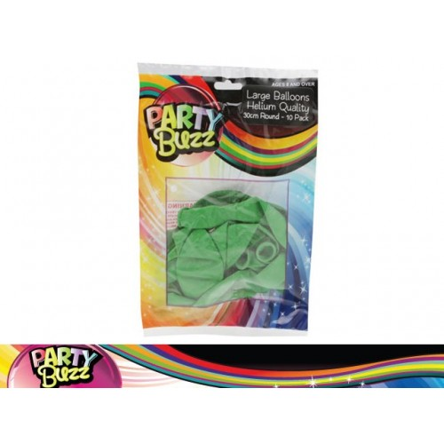 Party Buzz Balloons Green 10pk Lge 30cm