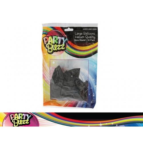 Party Buzz Balloons Black 10pk Lge 30cm