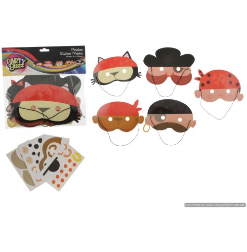 5pk Paper Pirate Sticker Masks Set