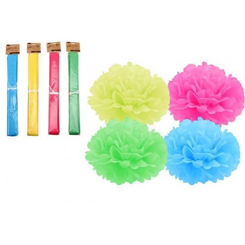 Instyle Pom Pom Dec 35cm Green, Blue, Pink, Yellow