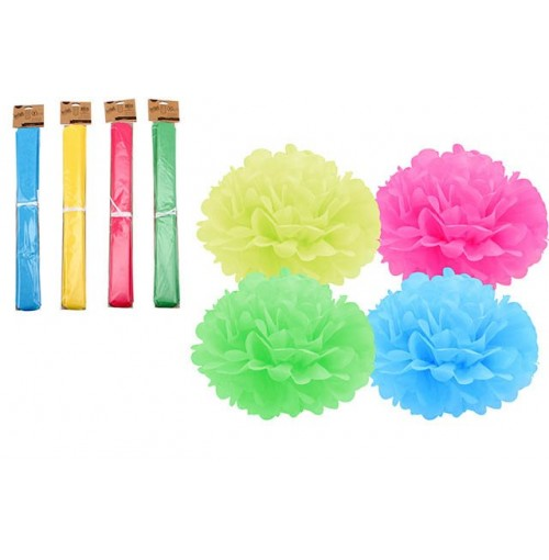 Instyle Pom Pom Dec 35cm Green, Blue, Pink, Yellow
