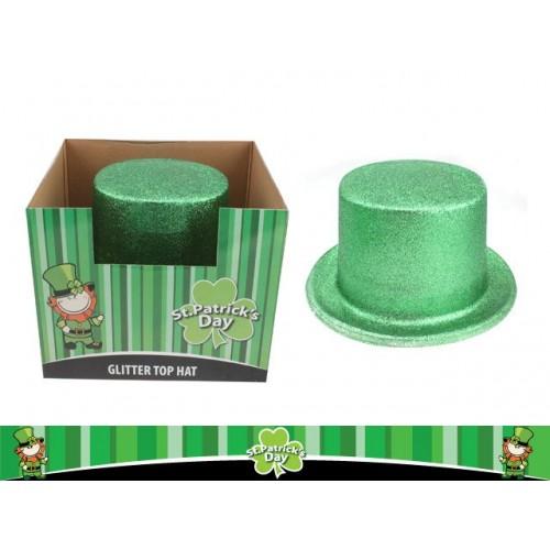 St Patrick Glitter Plastic Top Hat 24.5cmx27.5cm D23cm Disp