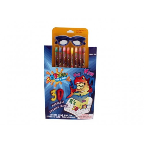 Colour In 3d Art 1 Pad Glasses 8 Crayons