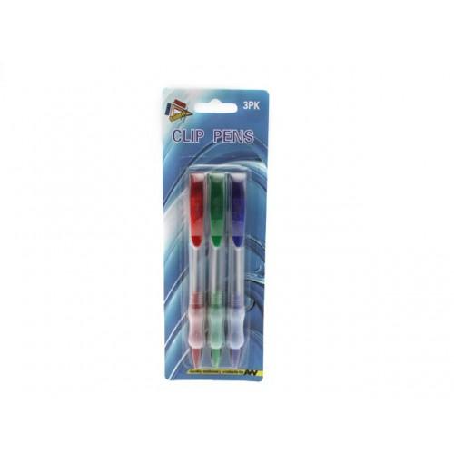 Clip Pens 3pk W/ Rubber Grip