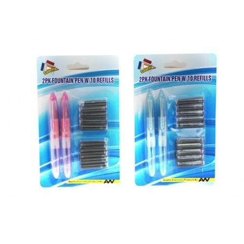 Pens Fountain Mini 2pc W/10 Refill Ink Cartridges