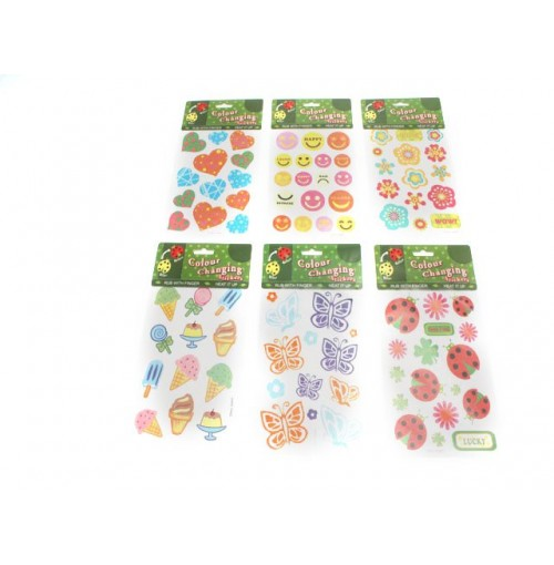Stickers Color Changing 6 Assorted design