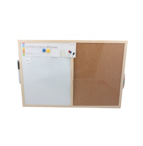 Cork/Magnetic Memo Board 40x60cm W/Pins Magnets And Pen