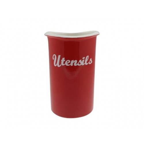 Curve Red Utensil Jar 18x12cm With G/b