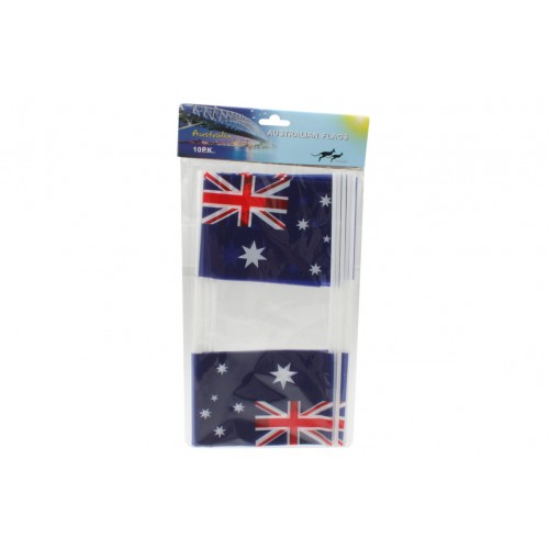 Australian Flags Pk10 Pe Small W/Stick Size 15x10cm