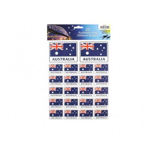 Australian Flags Glitter Stickers 22pk