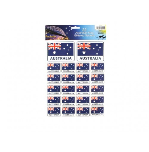 Australian Flags Glitter Stickers 22pk