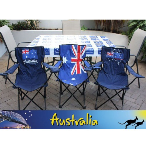 Folding Aussie Flag Chair With Drink Holder