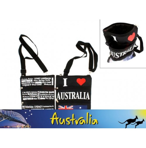 Travel Bag 3 Zipper Flag & Aus Capitals