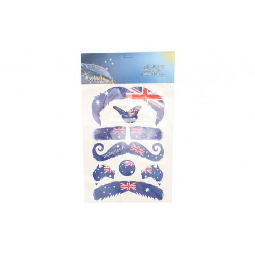 Australia Day Moustache Tattoo Stickers