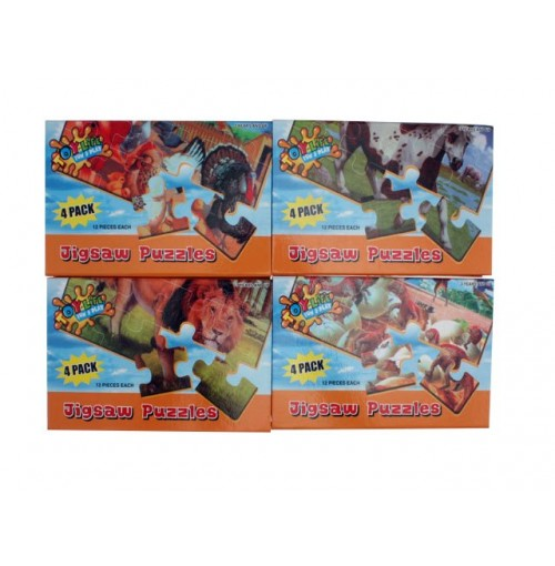 Animal Puzzles 4pk In Box Wooden