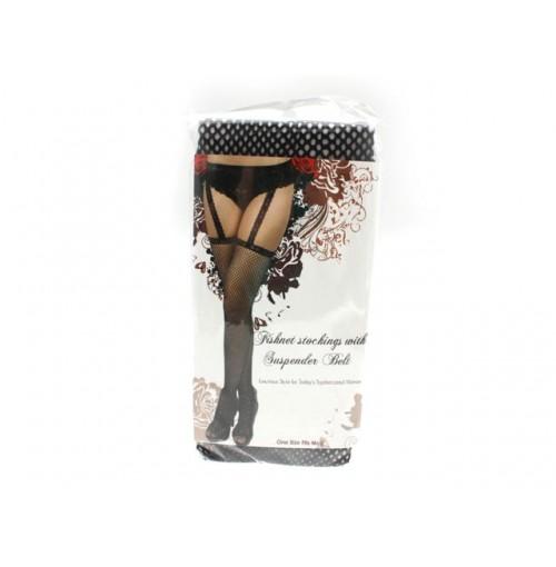 Fishnet Stockings W/Suspender Belt