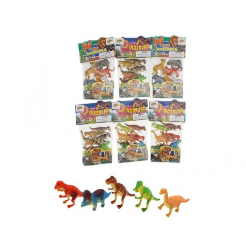 Wild Animal & Dinosaur Figurines 6pc