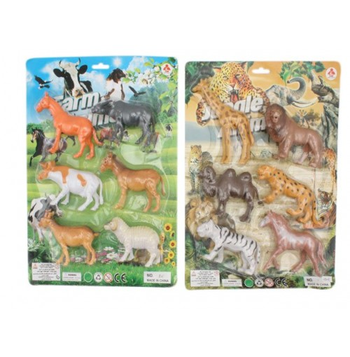 Animal Figurines 6pce On Backing Card
