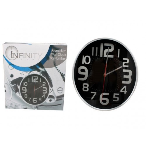 Aluminium Wall Clock Big Number 30x4.3cm