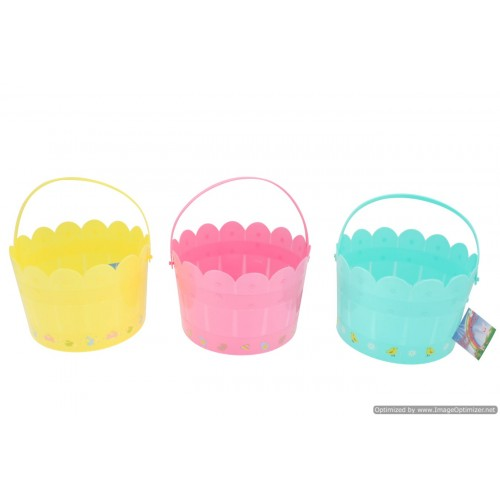 Easter Fence Bucket With Printing 3 Asst