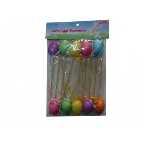 8pk Easter Egg Garden Picks 12cm