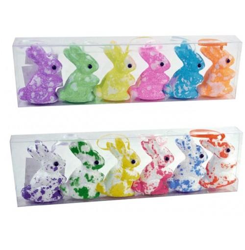 Easter Foam Rabbits 6 Pce Standing
