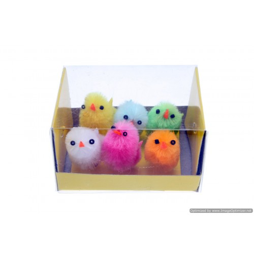 8pce Easter Chickens Multi Colour In Box 3cm