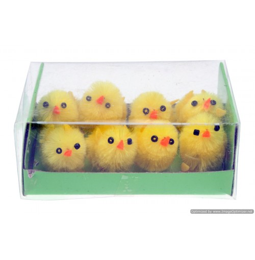 8pc Easter Chickens 3cm In Box