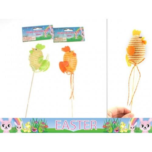 Easter Stripe Chick On Pick 23cm