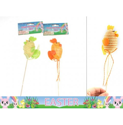 Easter Stripe Chick On Pick 23cm