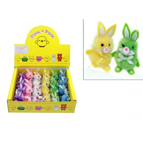 Easter Rabbit 24pc In Disp Pom Pom